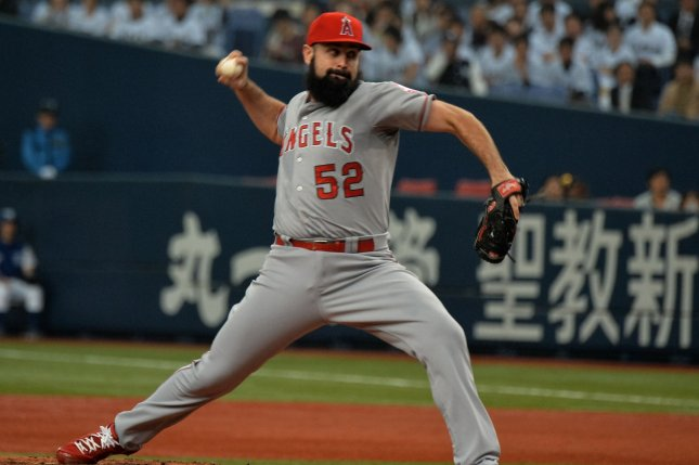 Matt Shoemaker of the Los Angeles Angels throws a pitch. File photo by Keizo Mori/UPI