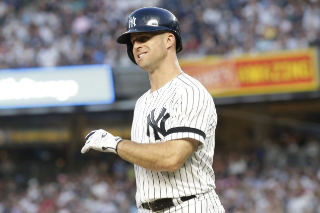 New York Yankees outfielder Brett Gardner is hitting a career-worst .217 this season. File Photo by John Angelillo/UPI