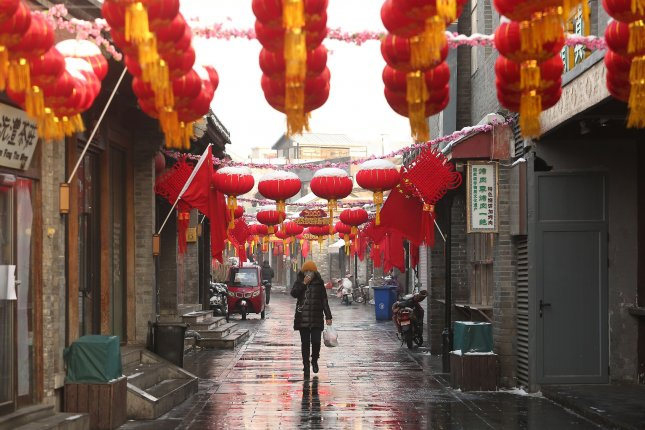 A historical, normally tourist-heavy area is eerily empty as the deadly coronavirus threatens Beijing on Saturday. Photo by Stephen Shaver/UPI