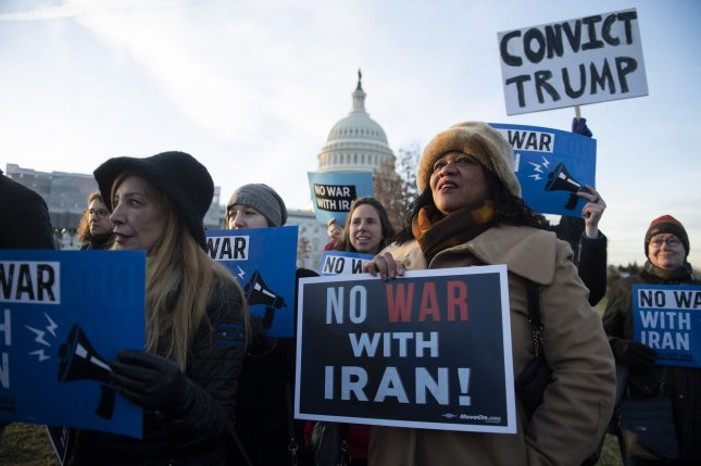 Activists demonstrate against President Donald Trump and military action against Iran at the U.S. Capitol in Washington, D.C., on January 9. File Photo by Kevin Dietsch/UPI