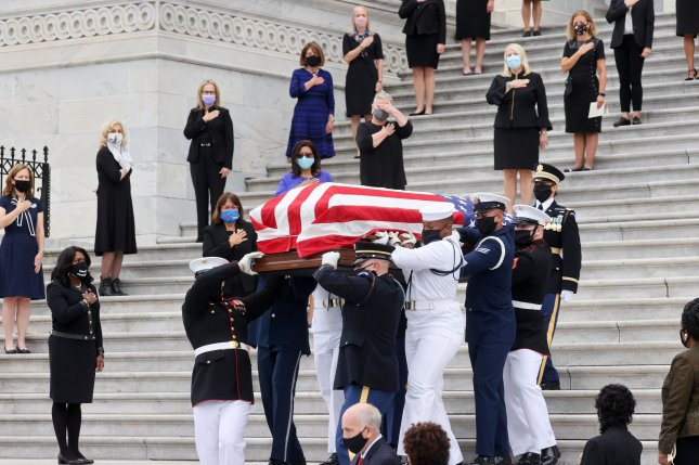 U.S. congresswomen look on as the casket of the late Supreme Court Associate Justice Ruth Bader Ginsburg is lifted following ceremonies honoring her at the U.S. Capitol in Washington on Friday. She was buried at Arlington National Cemetery on Tuesday. Pool photo by Jonathan Ernst/UPI