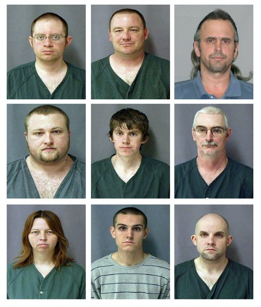 Accused Hutaree Christian militia members (L to R by row top to bottow) Joshua Clough, 28; Michael Meeks, 40; Thomas Piatek, 46; Kristopher Sickles, 27; David Stone Jr.; David Stone Sr., 44; Tina Stone; Joshua Stone; and Jacob Ward, 33; are seen in this composite of U.S. Marshals handout photographs released on March 30, 2010. The nine were arrested for conspiring to kill police officers and then kill many others during the funerals using home made bombs. UPI/U.S. Marshals Service/POOL