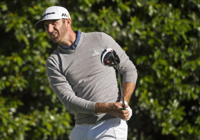 Dustin Johnson watches his shot on the 5th tee during a practice round before the 2016 Masters Tournament at Augusta National in Augusta, Georgia on April 5, 2016. Photo by Kevin Dietsch
