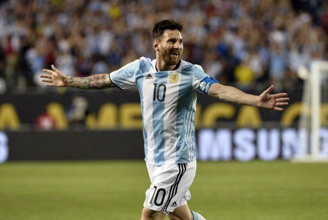 Argentina midfielder Lionel Messi reacts after scoring his second goal against Panama on a free kick during the second half of a 2016 Copa America Centenario Group D match against Panama at Soldier Field in Chicago on June 10, 2016. Messi scored 3 goals as Argentina defeated Panama 5-0. Photo by Brian Kersey/UPI