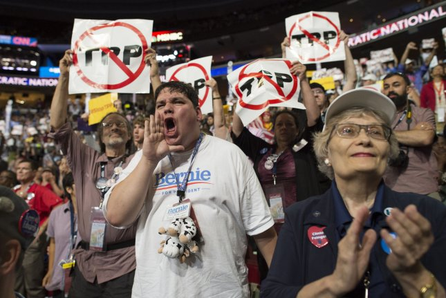 John Stanley of Wisconsin shouts his support for Bernie Sanders during the Democratic National Convention at the Wells Fargo Center in Philadelphia on Monday. Sanders supporters have protested the candidate's treatment by the Democratic National Committee. Photo by Pete Marovich/UPI