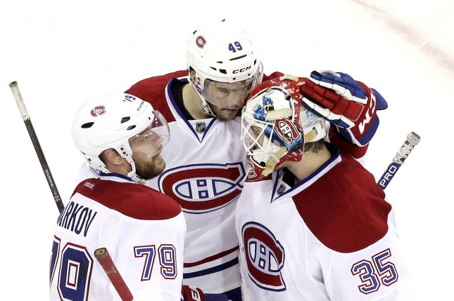 Andrei Markov scored two goals to lift the Montreal Canadiens to a 3-1 victory over the Ottawa Senators on Saturday night at the Bell Centre. File Photo by John Angelillo/UPI