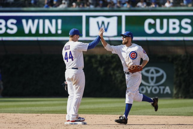 Chicago Cubs Anthony Rizzo (44) celebrates with Ben Zobrist their win against Toronto Blue Jays at Wrigley Field on August 18, 2017 in Chicago. File photo by Kamil Krzaczynski/UPI