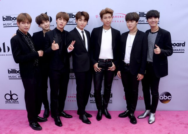 Music group BTS attends the annual Billboard Music Awards held at T-Mobile Arena in Las Vegas, Nevada on May 21. BTS set a Korean sales record with their album Love Yourself Seung Her, which sold 1.2 million copies in the month of September. File Photo by Jim Ruymen/UPI