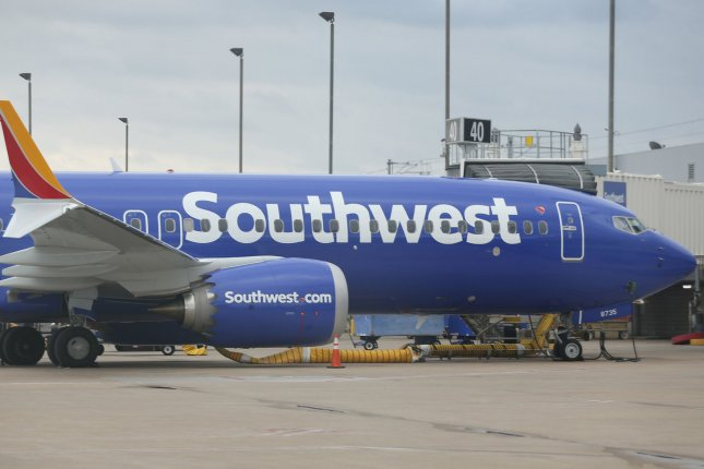 A Southwest Airlines 737 Max 8 airliner is parked at St. Louis-Lambert International Airport in St. Louis, Mo., on March 13. File Photo by Bill Greenblatt/UPI