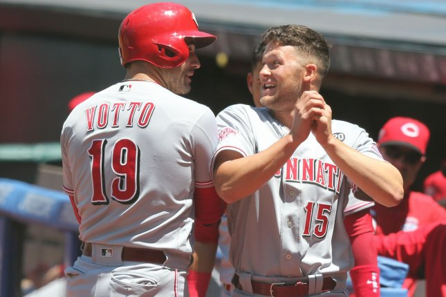 Cincinnati Reds first baseman Joey Votto and rookie teammate Nick Senzel each had one hit -- both both were solo homers -- in a win against the Cleveland Indians on Wednesday in Cleveland. Photo by Aaron Josefczyk/UPI