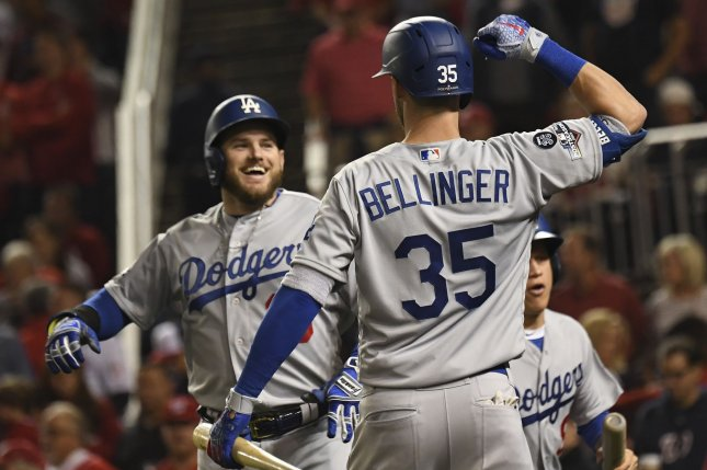 Los Angeles Dodgers first baseman Max Muncy (L) celebrates his solo home run against the Washington Nationals with teammate Cody Bellinger during the National League Division Series on Sunday at Nationals Park in Washington, D.C. Photo by Pat Benic/UPI