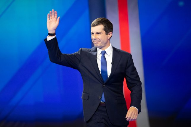 Democratic presidential candidate Pete Buttigieg released his plan to lower prescription drug prices Monday. Photo by Kevin Dietsch/UPI