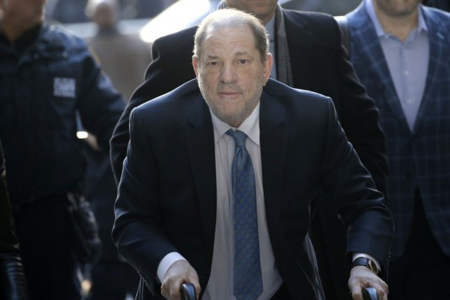 Former film producer Harvey Weinstein is pictured arriving at Manhattan Supreme Court during his rape trial on February 24. File Photo by John Angelillo/UPI