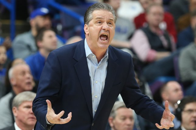 Kentucky basketball coach John Calipari mentioned the Wildcats' tough schedule and issues with turnovers when asked about his team's 1-3 start this season. File Photo by BIll Greenblatt/UPI