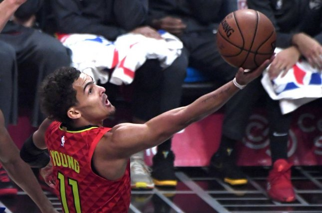 Atlanta Hawks guard Trae Young scored 13 of his game-high 32 points in the fourth quarter of a playoff win over the New York Knicks on Sunday in New York City. File Photo by Jon SooHoo/UPI
