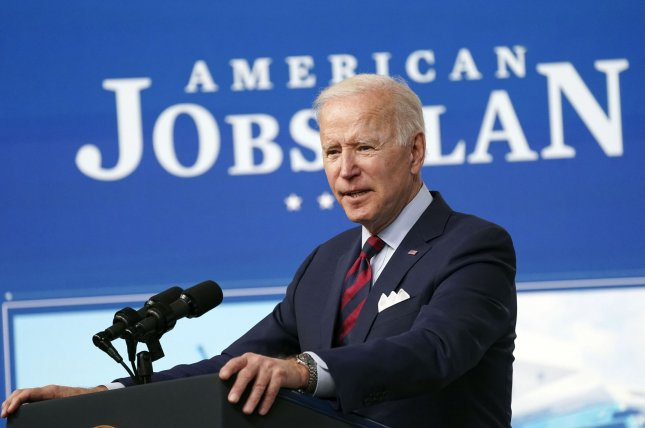 President Joe Biden speaks about his plan for infrastructure investments, part of his American Jobs Plan, in the South Court Auditorium of the White House in Washington, D.C., on April 7. File Photo by Leigh Vogel/UPI