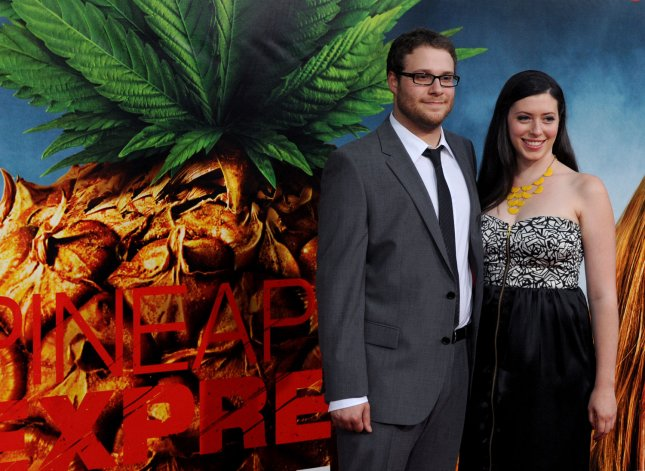 Seth Rogen, a cast member in the motion picture comedy thriller Pineapple Express, attends the premiere of the film with his girlfriend Lauren Miller in Los Angeles on July 31, 2008. (UPI Photo/Jim Ruymen)