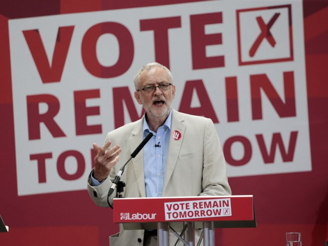 Labour Leader and Vote Remain campaigner Jeremy Corbyn gives a final press conference before the crucial Referendum vote to decide whether the UK will remain a member of the European Union or become an Independent country in King's Cross, London June 22, 2016. Photo by Hugo Philpott/UPI
