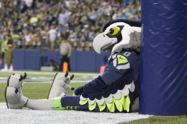 Seattle Seahawks mascot Blitz sits in the end zone after the Minnesota Vikings cornerback Marcus Sherels ran an interception back for a 53-yard touchdown during the fourth quarter of a preseason game at CenturyLink Field in Seattle, Washington on August 18, 2016. The Vikings beat the Seahawks 18-11. Photo by Jim Bryant/UPI