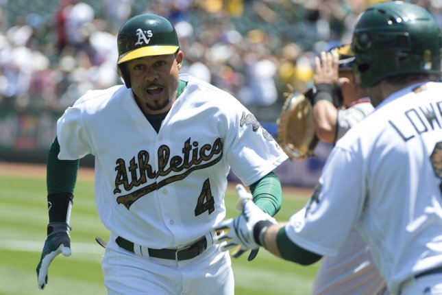Former Oakland Athletics OF Coco Crisp (4) is congratulated by Jed Lowrie after hitting a leadoff home run off Minnesota Twins starting pitcher Ervin Santana in the first inning at the Oakland Coliseum in Oakland, California on May 30, 2016. Photo by Terry Schmitt/UPI