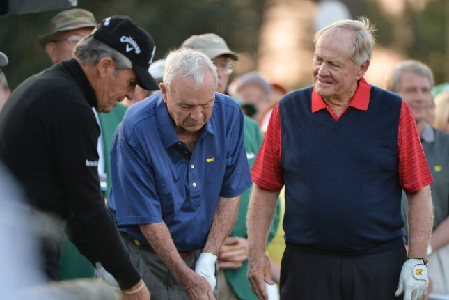 Jack Nicklaus, Arnold Palmer and Gary Player stand on the first tee before they tee off at hole #1 to start the 2015 Masters Tournament at Augusta National Golf Club in Augusta, Georgia on April 9, 2015. Photo by Kevin Dietsch/UPI