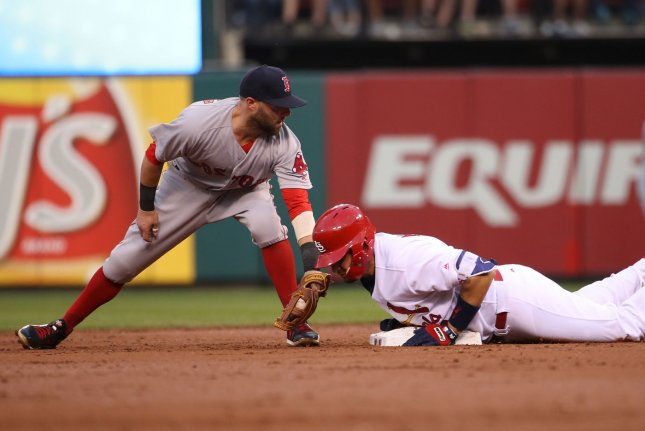 Boston Red Sox Dustin Pedroia applies a late tag to St. Louis Cardinals Yadier Molina on May 17, 2017. The Red Sox are putting Pedroia on the disabled list with soreness in his wrist. File photo by Bill Greenblatt/UPI