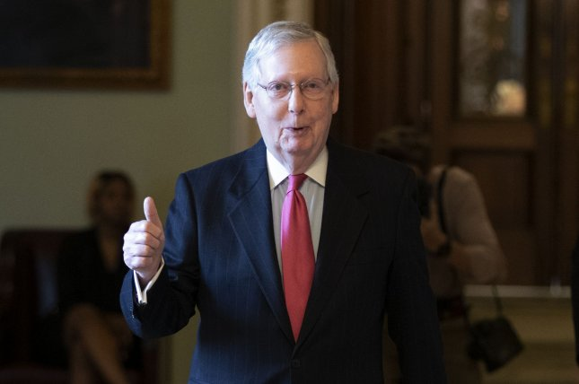 Senate Republican leader Mitch McConnell praised the bill's passage but criticized Democrats for seeking to add funding beyond the Paycheck Protection Program. Photo by Tasos Katopodis/UPI