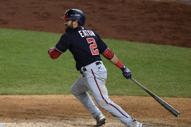 Former Washington Nationals and Chicago White Sox outfielder Adam Eaton, shown July 29, 2020, was unconditionally released by the White Sox on Monday. File Photo by Kevin Dietsch/UPI