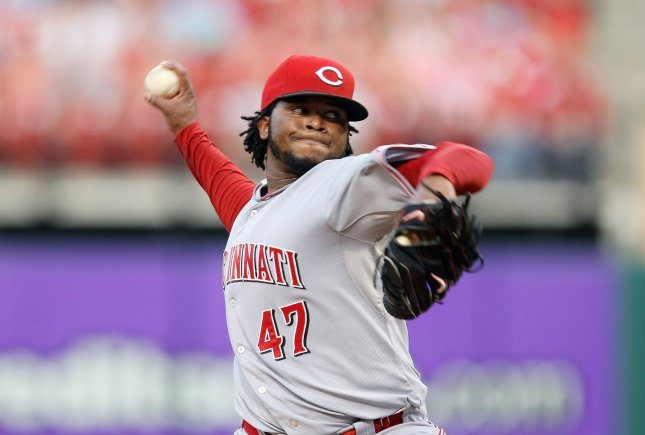 Cincinnati Reds starting pitcher Johnny Cueto delivers a pitch to the St. Louis Cardinals in the third inning at Busch Stadium in St. Louis on June 1, 2010. UPI/Bill Greenblatt