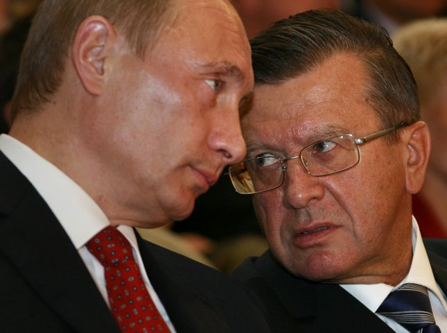Russian President Vladimir Putin (L) and Prime Minister Viktor Zubkov attend a concert in Ufa, capital of the Russian province of Bashkortostan in the Volga River region, about 1,200 kilometers (750 miles) east of Moscow on October 11, 2007. Putin visits Ufa for a state celebration of the 450th anniversary of Bashkortostan joining Russia. (UPI Photo/Anatoli Zhdanov).