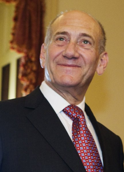 Israeli Prime Minister Ehud Olmert attends a meeting with Sen. Harry Reid, D-NV, and Sen. Mitch McConnell, R-KY, on Capitol Hill in Washington on June 5, 2008. (UPI Photo/Patrick D. McDermott)