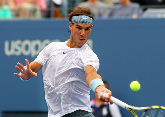Rafael Nadal of Spain returns the ball to Ryan Harrison (USA) in the first set of their first round match at the U.S. Open Championship held at the USTA Billie Jean King National Tennis Center on August 26, 2013 in New York City. UPI Photo/Monika Graff