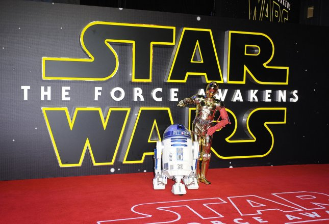 """R2-D2 and C-3PO pictured at the European premiere of """"Star Wars: The Force Awakens"""" in London on December 16, 2015. Photo by Paul Treadway/ UPI"""