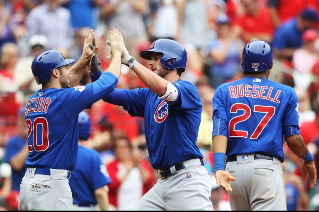 Chicago Cubs' Kris Bryant (C) is congratulated at home plate by teammates Matt Szcur and Addison Russell. Photo by Bill Greenblatt/UPI