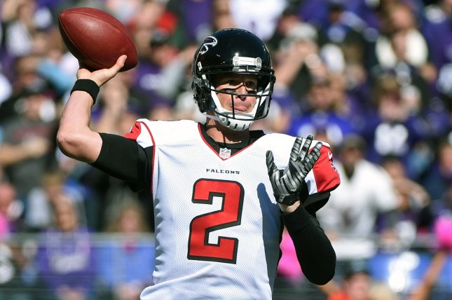 Atlanta Falcons quarterback Matt Ryan led the NFL with a 117.1 passer rating, the fifth-best mark in league history. File Photo by Kevin Dietsch/UPI