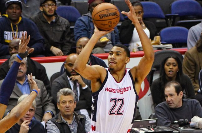 Washington Wizards forward Otto Porter Jr. (22) scores on a three point shot against the Memphis Grizzlies in the first half at the Verizon Center in Washington, D.C. on January 18, 20176. Photo by Mark Goldman/UPI