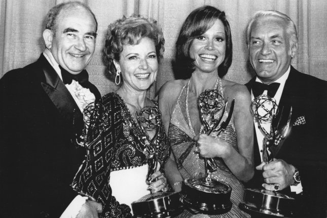 Mary Tyler Moore and her weekly comedy series won five Emmys in 1976. She is shown here with co-stars, from left to right, Ed Asner, Betty White and Ted Knight. File Photo by Glenn Waggner/UPI