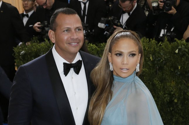 Jennifer Lopez (R) and Alex Rodriguez attend the Costume Institute Benefit at the Metropolitan Museum of Art on Monday. The singer gushed about Rodriguez on Thursday's episode of The Late Late Show with James Corden. File Photo by John Angelillo/UPI