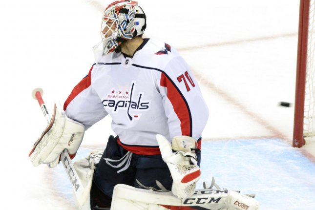 Washington Capitals goaltender Braden Holtby (70). Photo by Archie Carpenter/UPI