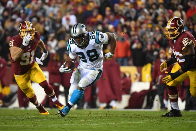 Carolina Panthers running back Jonathan Stewart (28) retires as the franchise's all-time leading rusher. File Photo by Kevin Dietsch/UPI