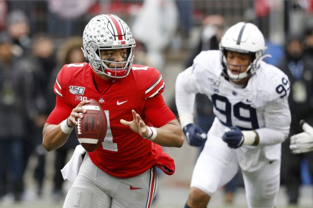 Ohio State Buckeyes quarterback Justin Fields (1) led his team to a win over the Penn State Nittany Lions on Saturday in Columbus, Ohio. Photo by Aaron Josefczyk/UPI