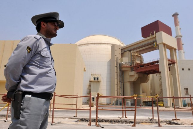 A security guard stands near a nuclear power plant in Bushehr, Iran. File Photo by Maryam Rahmanianon/UPI