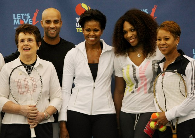 Tennis greats Billie Jean King (L), James Blake, Serena Williams, second right, and Katrina Adams, right, meet First Lady Michelle Obama during the Let's Move! tennis clinic held during the U.S. Open at the National Tennis Center on September 9, 2011 in New York City. Obama's Let's Move! initiative aims to stress the importance of physical activity for kids. UPI/Monika Graff