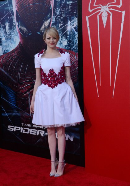 Actress Emma Stone, a cast member in the motion picture fantasy The Amazing Spider-Man, attends the premiere of the film at Regency Village Theatre in the Westwood section of Los Angeles on June 28, 2012. UPI/Jim Ruymen