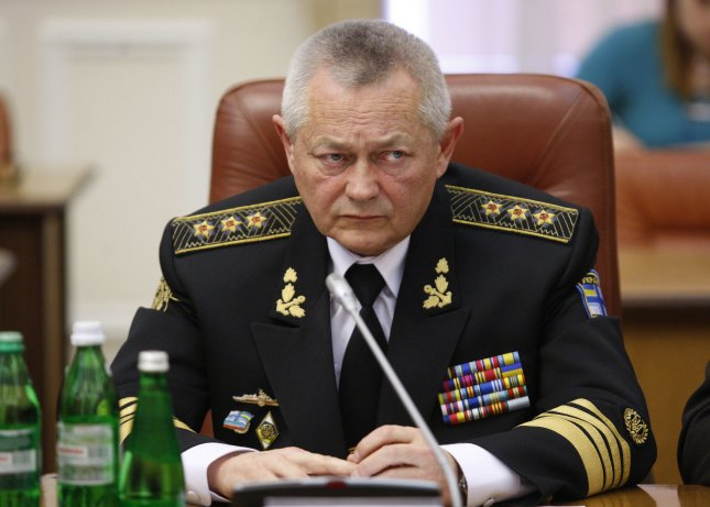 Ukrainian Defense Minister Igor Tenyukh attends a government meeting in Kiev on March 16, 2014. Ukraine held a referendum vote on the status of Crimea and whether to give the land to Russia. UPI/Ivan Vakolenko