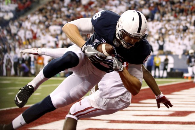 ce99f02b8 Former Penn State Nittany Lions tight end Mike Gesicki (88) makes a  touchdown catch under pressure from a Wisconsin Badgers defender in the  first quarter of ...
