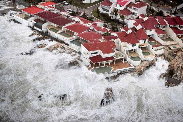 Hurricane Irma produces severe waves on the shore of the Dutch Caribbean island of Sint Maarten on September 6, 2017. File Photo by Dutch Department of Defense/UPI