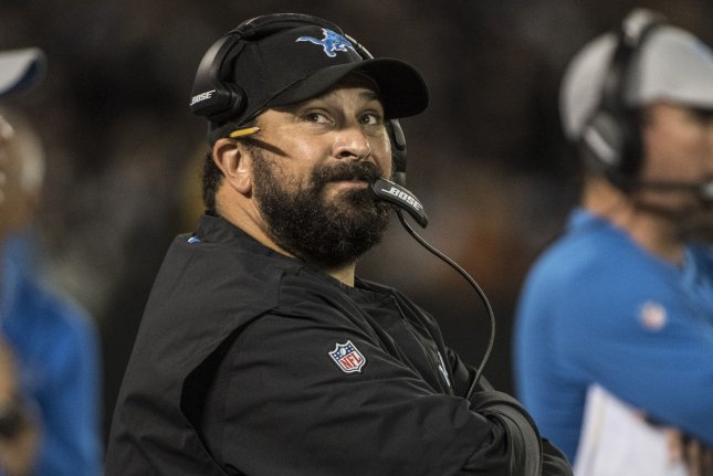 Detroit Lions head coach Matt Patricia watches from the sidelines during a preseason game against the Oakland Raiders on August 10, 2018. Photo by Terry Schmitt/UPI
