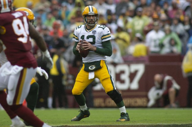 Aaron Rodgers and the Green Bay Packers take on the Arizona Cardinals on Sunday. Photo by Alex Edelman/UPI