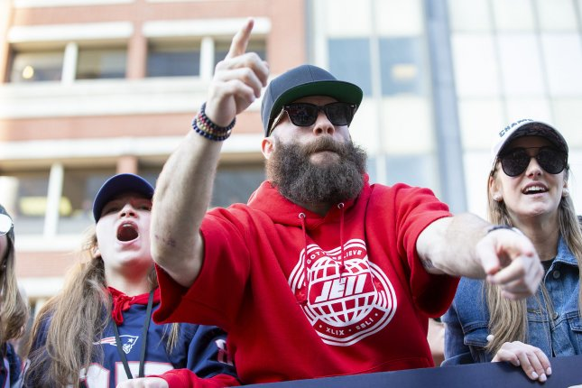 New England Patriots wide receiver Julian Edelman had his beard during the Super Bowl parade on Tuesday in Boston, but lost it on Friday while appearing on The Ellen DeGeneres Show. Photo by Matthew Healey/UPI